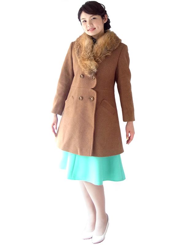 ロンドン買い付け 60年代製 ブラウン X ふかふかファー襟 スカラップ風ウェスト ウール コート 16OM929