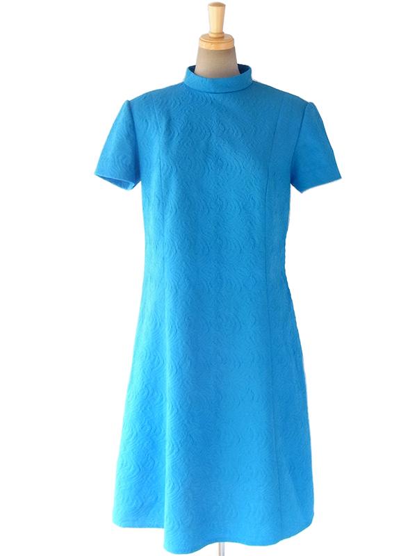 【送料無料】ロンドン買い付け きれいなブルー X 模様の浮かび上がる生地 モックネック レトロ ワンピース 16OM711【ヨーロッパ古着】