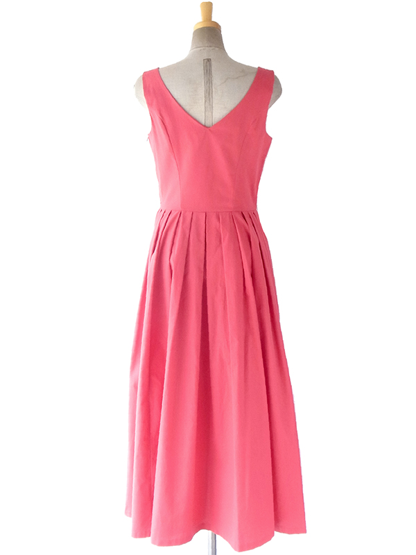 ヨーロッパ古着 イギリス製 Laura Ashley ピンク X プリーツがきれいなシルエット ドレス 17BS002