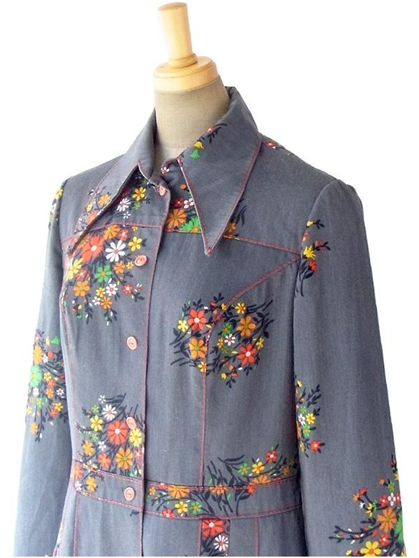 ヨーロッパ古着 ロンドン買い付け 60年代製 グレイ X レッド ビッグステッチ カラフル花柄 レトロ ワンピース 17BS018