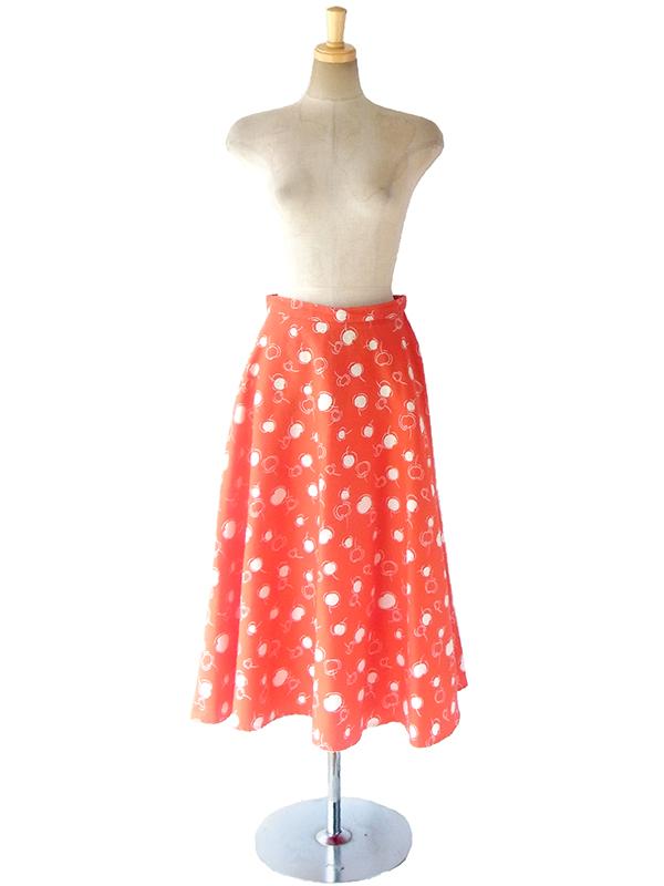 ヨーロッパ古着 ロンドン買い付け 60年代製 朱色 X ホワイト 水玉 チェリー柄 ヴィンテージ スカート 17BS033