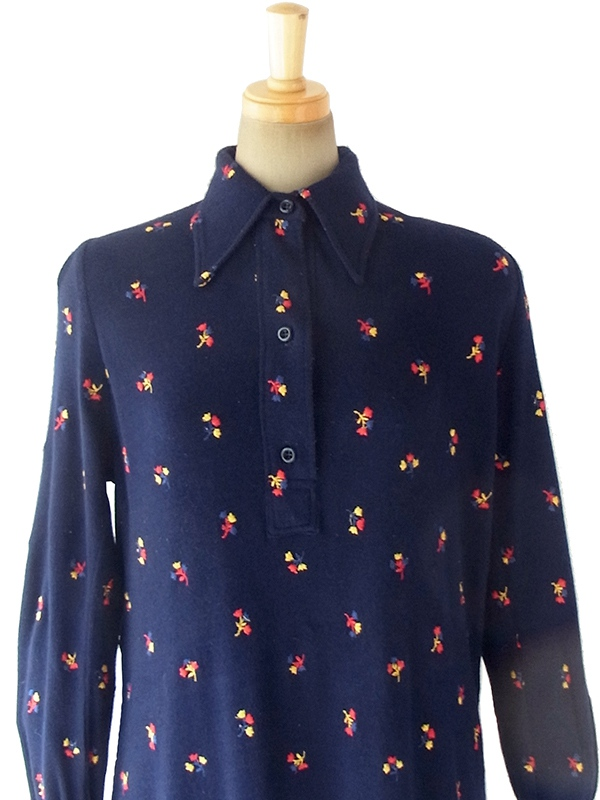ヨーロッパ古着 ロンドン買い付け 60年代製 ネイビー X カラフル花柄刺繍 ウール ロング ワンピース 17BS101