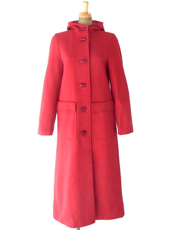 ヨーロッパ古着 ロンドン買い付け 60年代製 レッド X ビッグステッチ ロング丈 ダッフル風 コート 17BS107