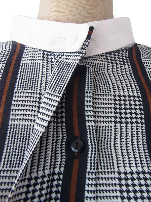ヨーロッパ古着 ロンドン買い付け 白X黒X茶 グレンチェック・ストライプ 襟・袖取り外し可能 ワンピース 17BS114