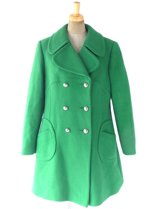 ヨーロッパ古着 ロンドン買い付け 60年代製 グリーン X ビッグステッチ 厚手ウールコート 17BS121