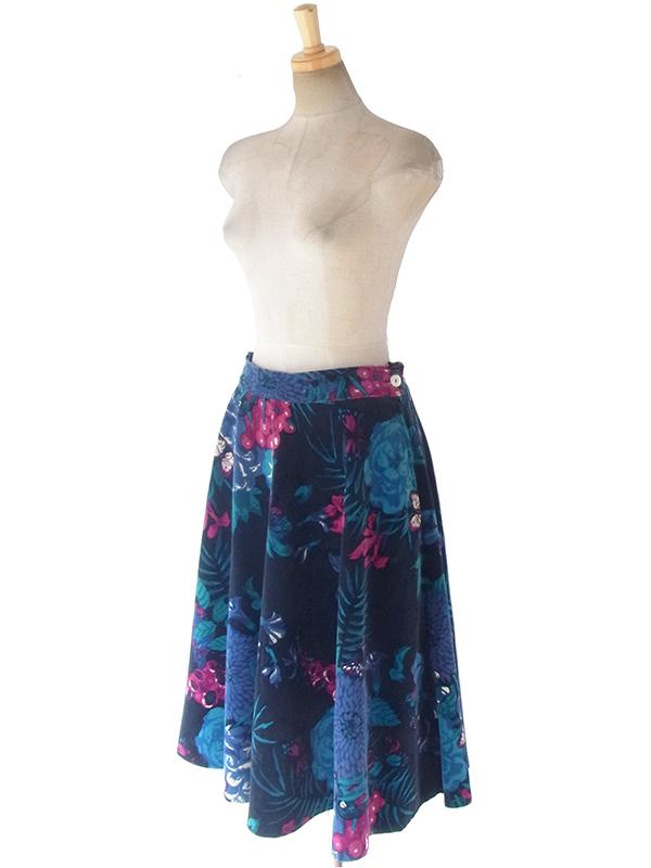 ヨーロッパ古着 ロンドン買い付け ブラック X  カラフルな花柄 ベロア生地 サーキュラー スカート 17BS154