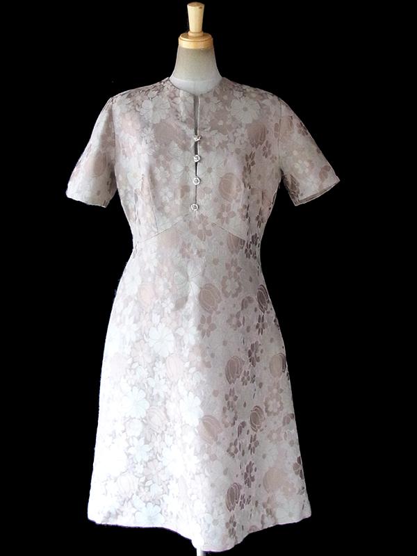 ヨーロッパ古着 ロンドン買い付け 60年代製 ベージュ X ゴールド 花柄が浮かぶダマスク織りの生地 ヴィンテージ ドレス 17BS201