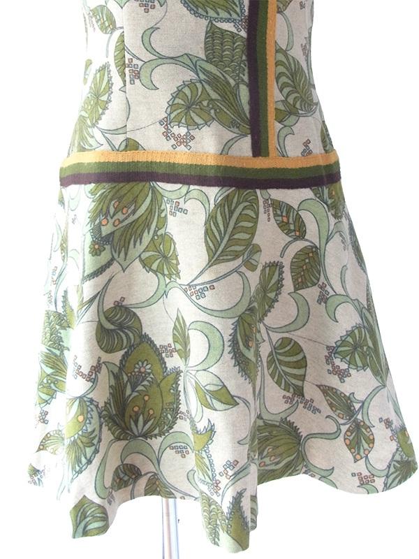 ヨーロッパ古着 ロンドン買い付け 60年代製 若草色 X ポタニカル柄 茶・緑・黄ライン ウール ワンピース 17BS202