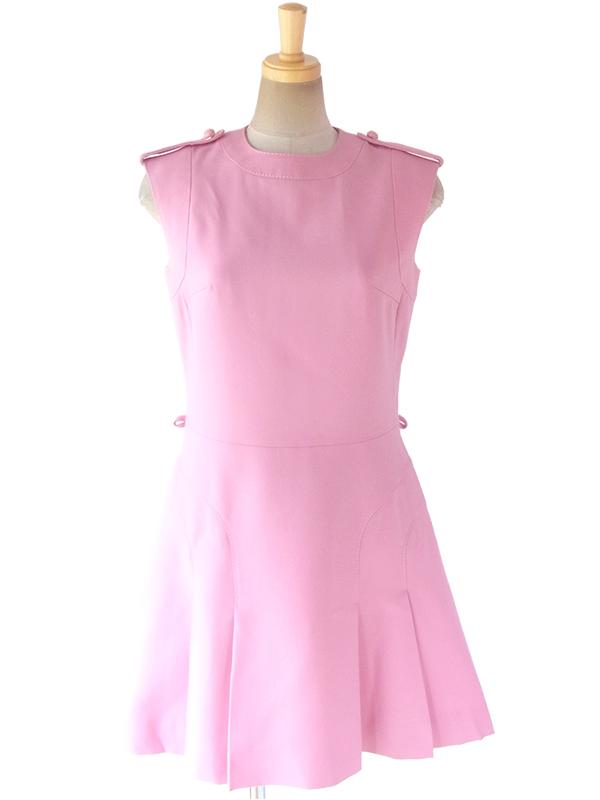 ロンドン買い付け 60年代製 ピンク X ビッグステッチ 肩口に飾りボタン ヴィンテージ ウール ワンピース