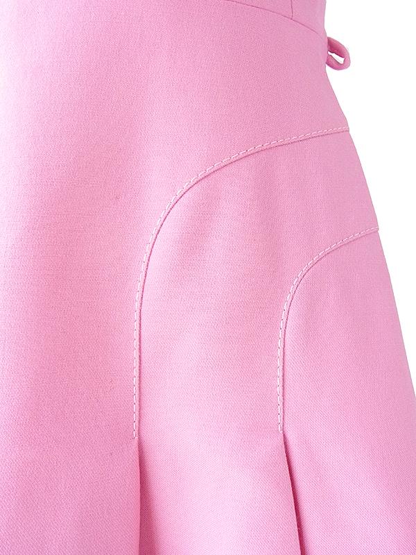 ロンドン買い付け 60年代製 ピンク X ビッグステッチ 肩口に飾りボタン ヴィンテージ ウール ワンピース 17BS205