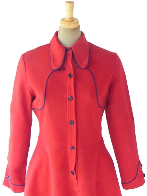 ヨーロッパ古着 ロンドン買い付け 60年代製 レッド X ・ネイビー パイピング 可愛らしい襟 レトロ ワンピース 17BS211