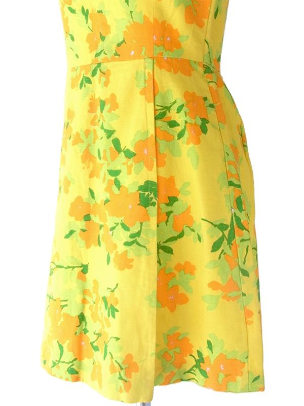 ヨーロッパ古着 フランス買い付け 60年代製 イエロ X オレンジ・グリーン 花柄 パイピング ヴィンテージ プリーツ ワンピース 17CC001