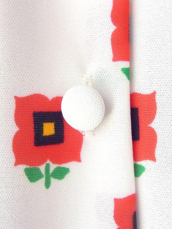 ヨーロッパ古着 70年代製 ホワイト X カラフル 花柄・モザイク レトロ ワンピース 17CC003