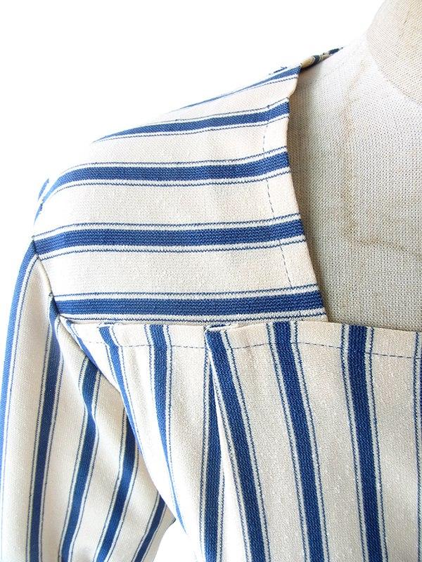 ヨーロッパ古着 フランス買い付け 70年代製 オフホワイト X ブルー ストライプ 共布ベルト付き ヴィンテージ ワンピース 17FC013