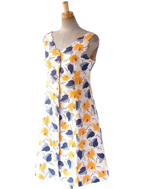 ヨーロッパ古着 フランス買い付け 60年代製 ホワイト X イエロー・ブルー 花柄・リーフ柄 ワッフル地 ワンピース 17FC015