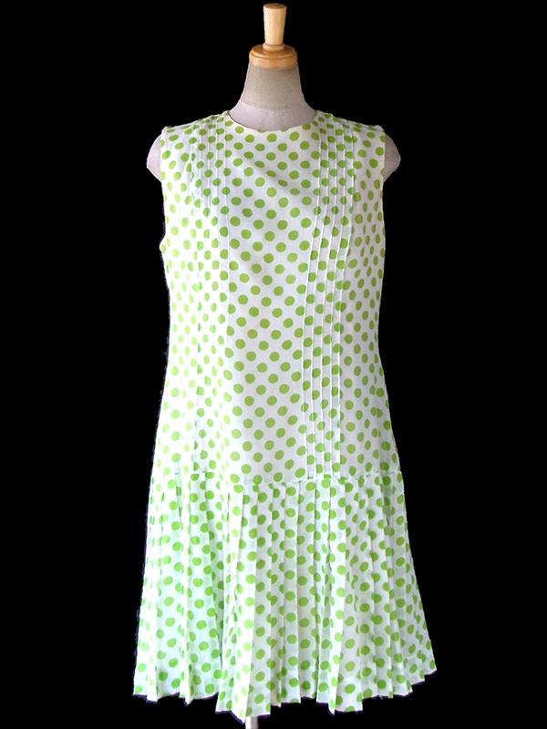 ヨーロッパ古着 フランス買い付け 60年代製 ホワイト X グリーン 水玉 ドロップウェスト ワンピース 17FC016