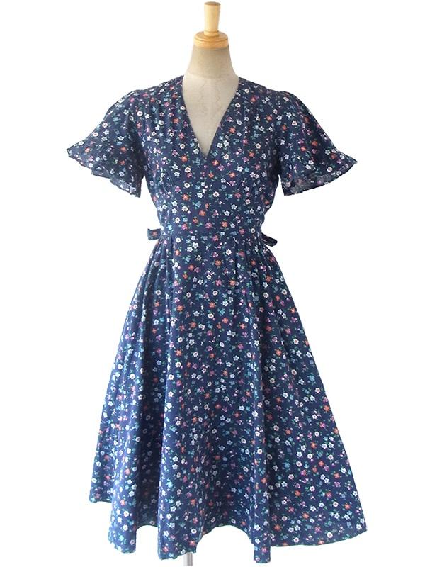 ヨーロッパ古着 フランス買い付け 60年代製 ブルー X カラフル花柄 ポケット付き ヴィンテージ ワンピース 17FC018