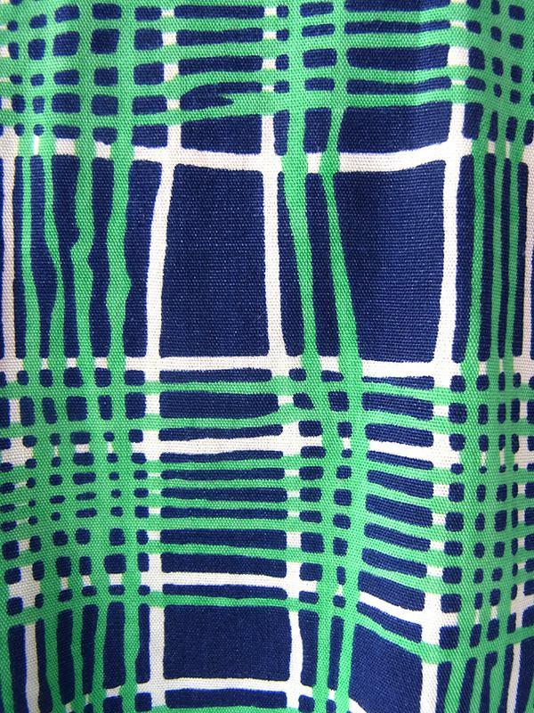 ヨーロッパ古着 フランス買い付け 60年代製 ブルー・グリーン・ホワイト チェック柄 共布ベルト付き ワンピース 17FC019