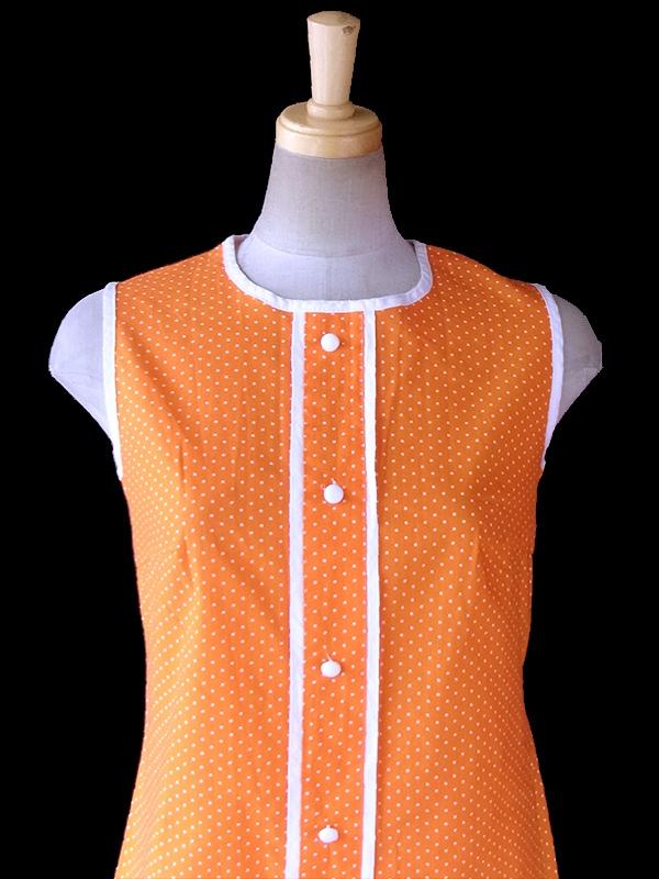 ヨーロッパ古着 ロンドン買い付け 60年代製 オレンジ X ホワイト 水玉 レトロ ワンピース 17FC101