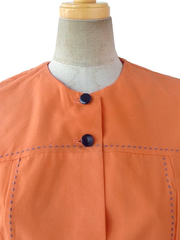 ヨーロッパ古着 フランス買い付け 60年代製 オレンジ X ブルー ビッグステッチ デザインポケット付き レトロ ワンピース 17FC104