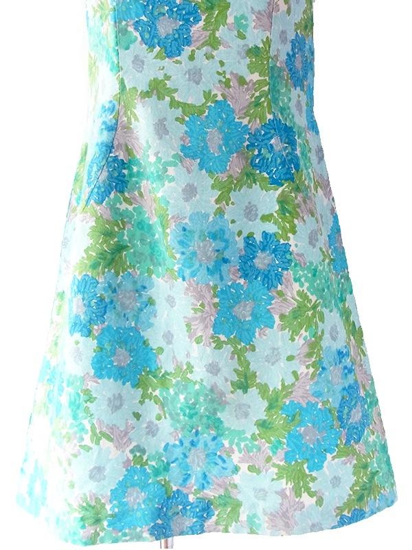 フランス買い付け 60年代製 水色・グレイ・グリーン X 水彩のような花柄 かわいい襟 ヴィンテージ ワンピース 17FC114