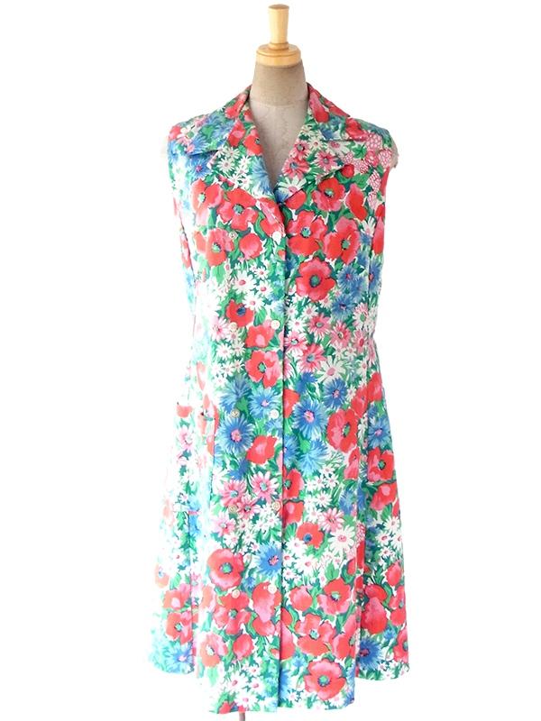 ヨーロッパ古着 フランス買い付け 60年代製 カラフル 花柄 大きめポケット付き ヴィンテージ ワンピース 17FC201