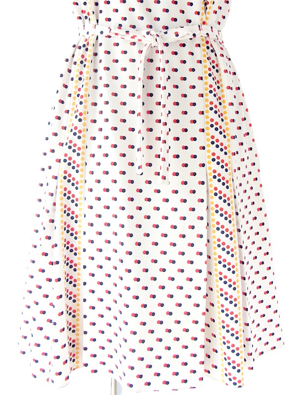 ヨーロッパ古着 フランス製 ホワイト X カラフル水玉 共布ベルト付き レトロ ワンピース 17FC203