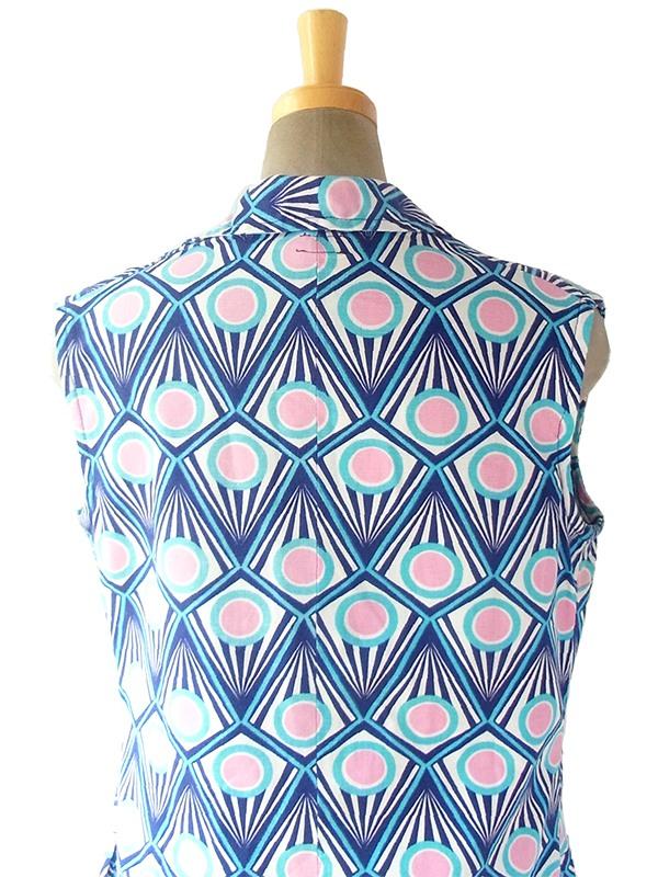 ヨーロッパ古着 フランス買い付け 60年代製 ブルー・水色・ピンク オプアート風プリント レトロ ワンピース 17FC205