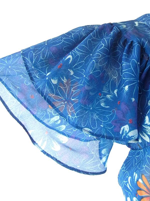 ヨーロッパ古着 フランス買い付け 60年代製 ブルー X 花柄 共布ベルト付き ティアードスリーブ ワンピース 17FC216