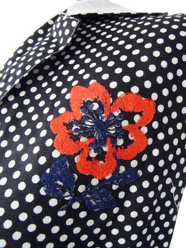 ヨーロッパ古着 フランス買い付け 60年代製 モノトーン 水玉 カットレース 花柄アップリケ ワンピース 17FC222