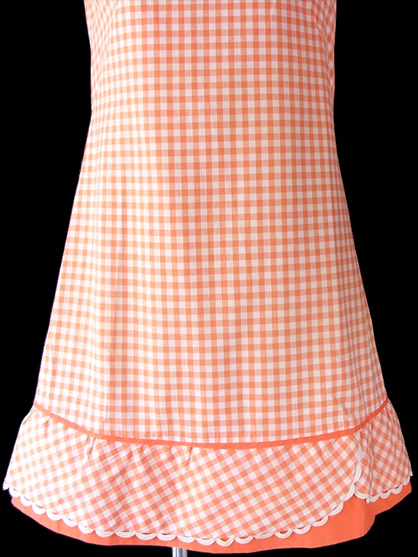ヨーロッパ古着 フランス買い付け 60年代製  オレンジ X ホワイト ブロックチェック 波形テープ ワンピース 17FC224