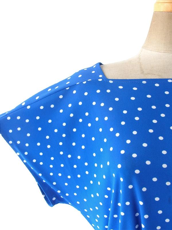 ヨーロッパ古着 フランス買い付け ブルー X ホワイト 水玉 共布ベルト付き ヴィンテージ ワンピース 17FC227