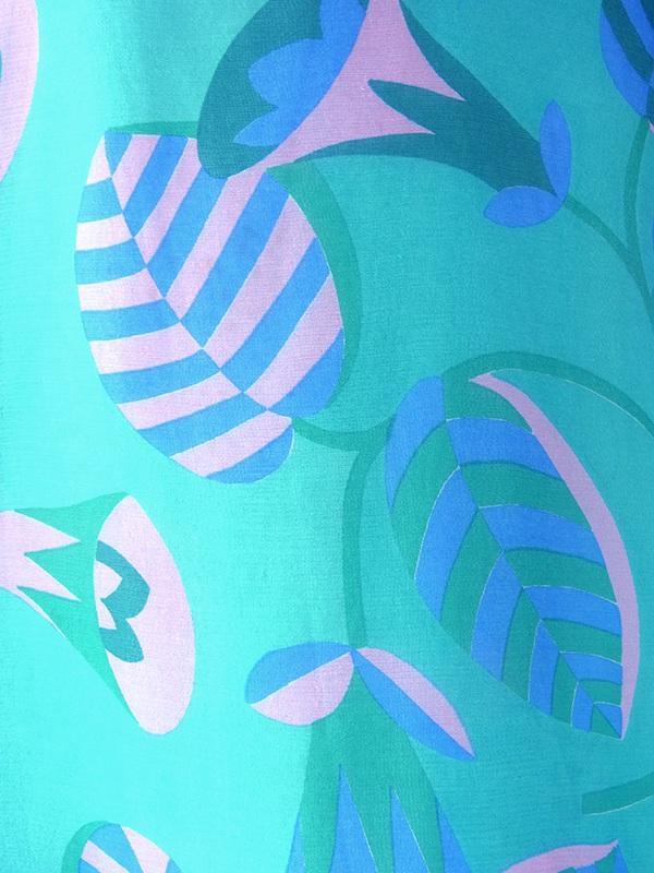 ヨーロッパ古着 フランス買い付け 70年代製 エメラルドグリーン X ピンク・ブルー 花柄 ボウタイ シフォン地 ワンピース 17FC300