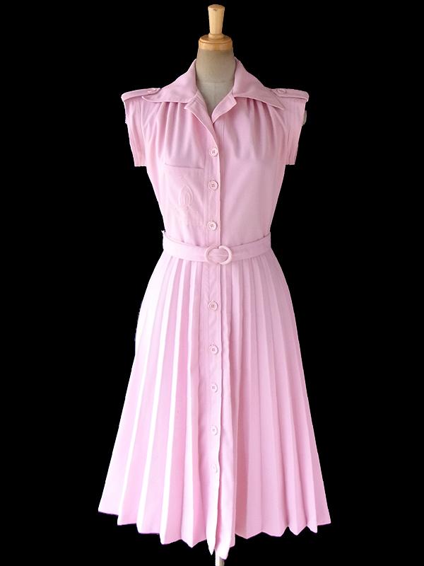 ヨーロッパ古着 フランス買い付け 60年代製 パウダーピンク X 刺繍入り胸ポケット 共布ベルト付き ワンピース 17FC301