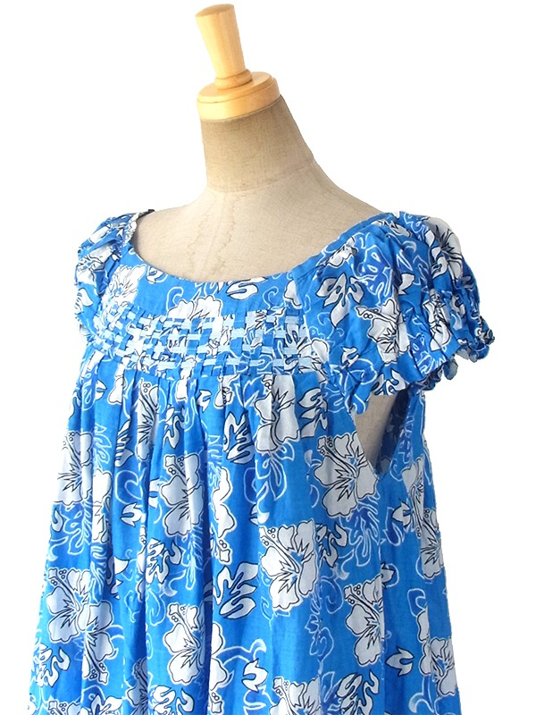 ヨーロッパ古着 フランス買い付け ブルー X ホワイト ハイビスカス柄 編み込みデザイン ワンピース 17FC308