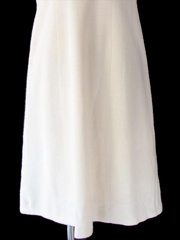 ヨーロッパ古着 フランス買い付け 60年代製 ホワイト X シームデザイン ヴィンテージ ウール ワンピース 17FC327
