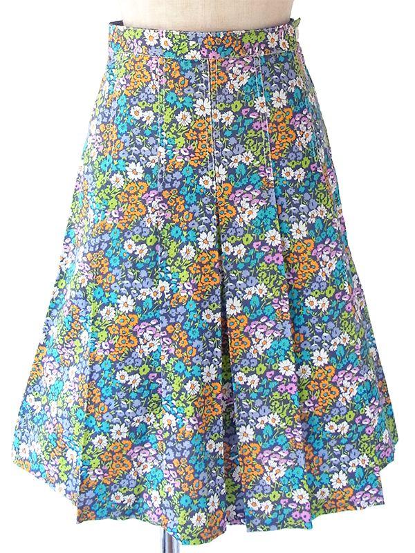 ヨーロッパ古着 フランス買い付け 60年代製 カラフル花柄 X ステッチ ボックスプリーツ スカート 17FC334