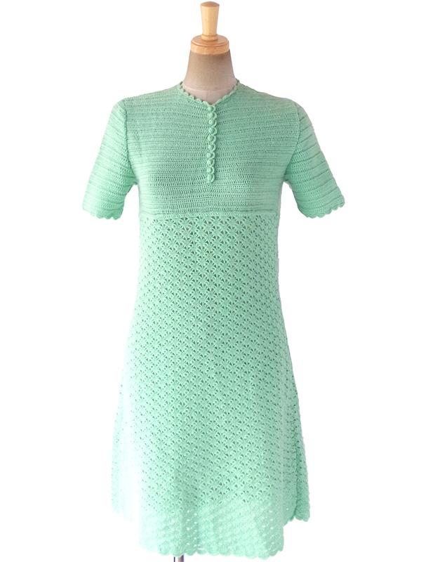 ヨーロッパ古着 フランス買い付け 60年代製 ペールグリーン X 編み方切り替え ニット ワンピース 17FC407
