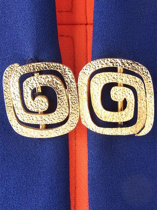 ヨーロッパ古着 フランス買い付け 60年代製 ネイビーブルー X ゴールド バックル ヴィンテージ イブニングコート 17FC420