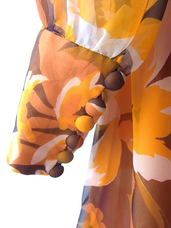ヨーロッパ古着 フランス買い付け 70年代製 オレンジ X ブラウン 花柄プリント フリル襟 共布ベルト付き ワンピース 17FC506