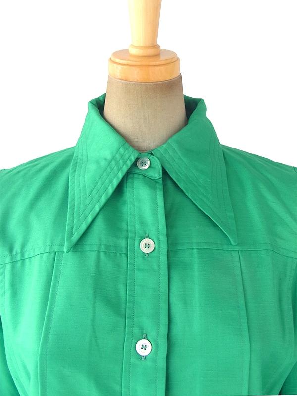 ヨーロッパ古着 60年代フランス製 光沢のあるエメラルドグリーン X ステッチデザイン プリーツ ワンピース 17FC507