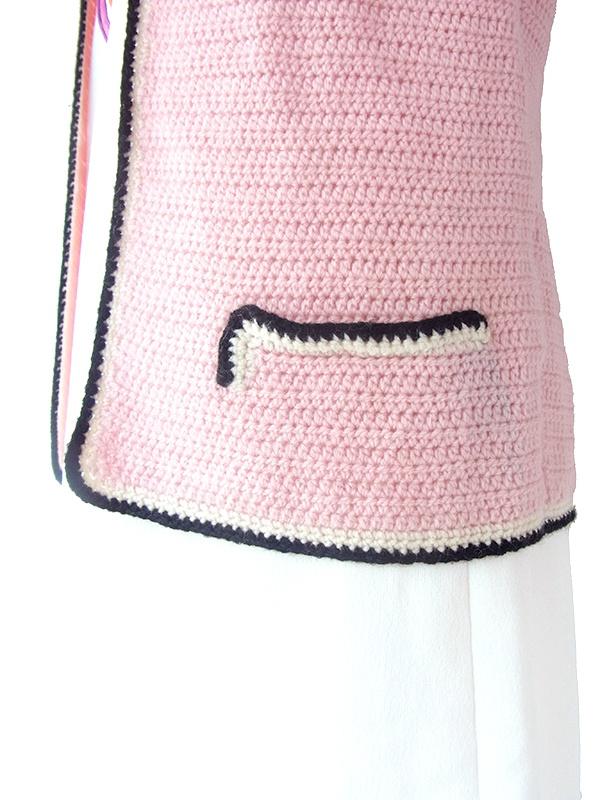 ヨーロッパ古着 フランス買い付け 60年代製 ピンク X ホワイト・ブラック縁取り ニット カーディガン 17FC510