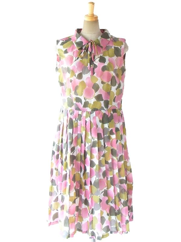 ヨーロッパ古着 ロンドン買い付け 70年代製 スモーキーピンク・グレイ・グリーン 花柄シフォン地 プリーツ ワンピース 17OM100