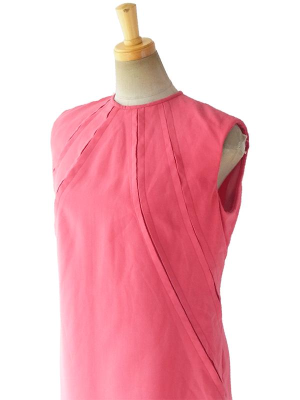 ヨーロッパ古着 ロンドン買い付け 70年代製 ピンク X 切り込み装飾 ヴィンテージ ワンピース 17OM113