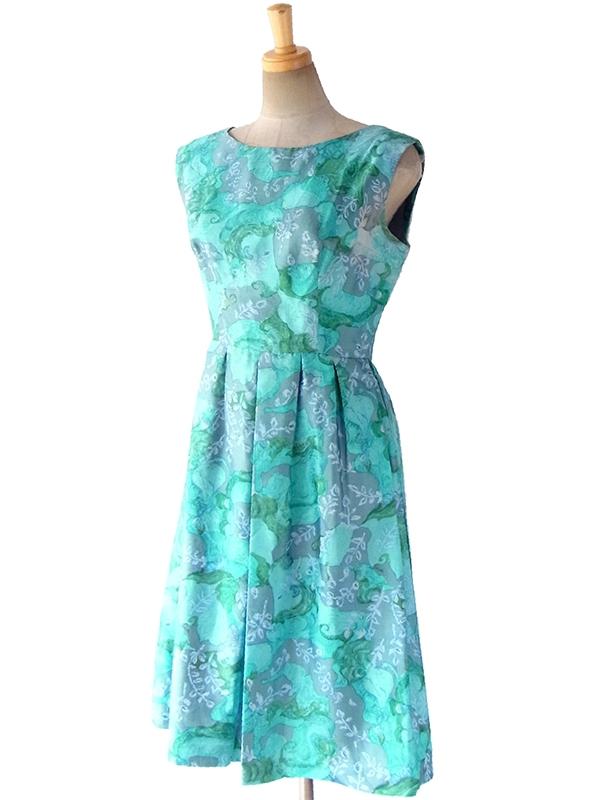ヨーロッパ古着 ロンドン買い付け 60年代製 光沢のある水色 X グレイ 花柄プリント ヴィンテージ ドレス 17OM117