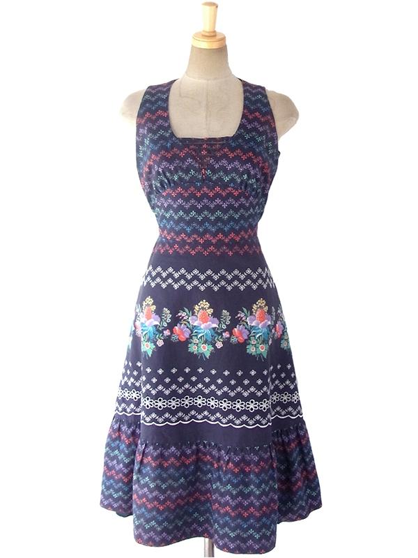 ヨーロッパ古着 ロンドン買い付け 60年代製 ネイビー X カラフル花柄・カットワーク・刺繍 ヴィンテージ ワンピース 17OM305