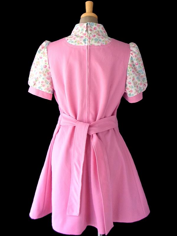 ヨーロッパ古着 ロンドン買い付け 70年代製 ピンク X 花・小鳥プリント パフスリーブ  レトロ ワンピース 17OM402