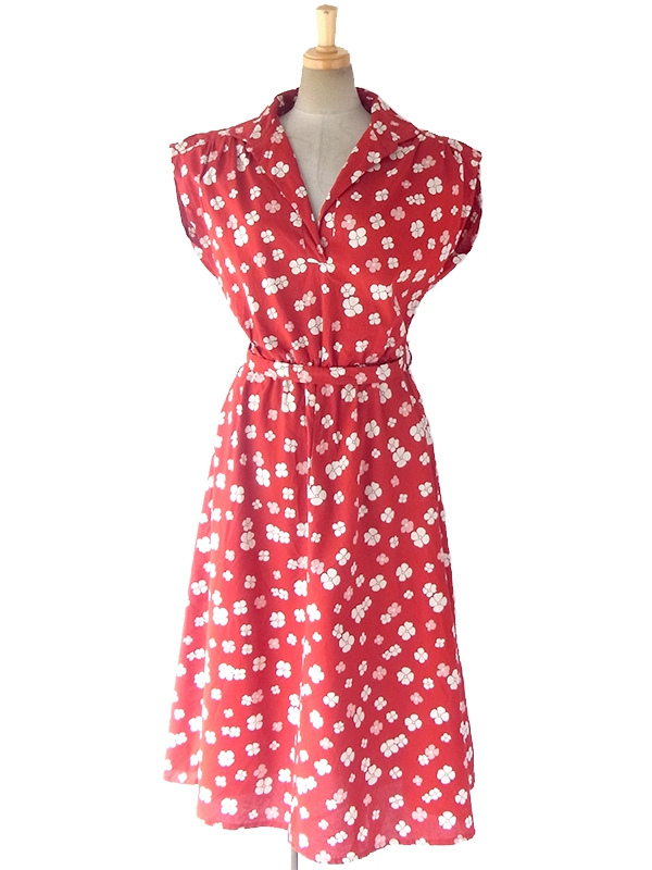 ロンドン買い付け えんじ色 X ホワイト・ピンク 花柄 共布ベルト付き ヴィンテージ ワンピース 17OM420