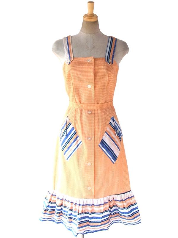 60年代フランス製 オレンジ・ブルー チェック・水玉 デッドストック ストラップ ワンピース 17OM601