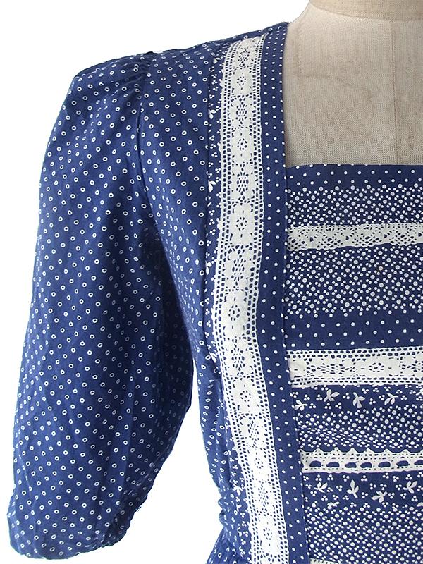 ヨーロッパ古着 ロンドン買い付け 60年代製 ブルー X ホワイト 水玉・レース風プリント パフスリーブ ワンピース 17OM610